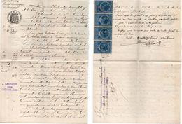 Document Avec Timbres Fiscaux De 1893 - Mention Des Villages :Lectoure, Fleurance - Pradette... (Gers)    (103917) - Cachets Généralité
