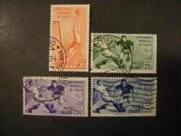 1934 - Mondiali Di Calcio, Sass N. 357/60, Lotto Di 4 Valori Usati , TTB,  OCCASIONE - 1900-44 Vittorio Emanuele III