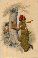 CPA Angelot Gaufré Gaufrée Embossed Angel Non Circulé Art Nouveau Femme Girl - Angels