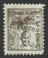 Spain, Malaga 5 C. 1937, Mi # 25, MH, Black Overprint. - Emissions Nationalistes