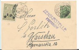 Pol067 / Polen, Etappenpostamt 1916, Piotrków Nach Warschau Und Ausgeliefert Durch Lokalpost - ....-1919 Übergangsregierung