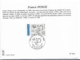FS851 / FRANKREICH -  Francis Ponge 1988 - Oblitérés