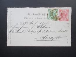 Österreich / Bosnien 1894 Kartenbrief K2 Mit Zusatzfrankatur Nr. 3 Bihac - Sarajevo. Ritter / Orden - Bosnien-Herzegowina