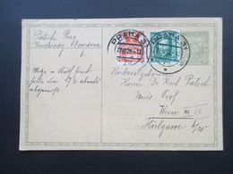 CSSR 1928 Ganzsache Mit 2 Zusatzfrankaturen! Prag 22.III.28 Nach Wien Gelaufen! Social Philately Karl Patsch Professor - Tschechoslowakei/CSSR