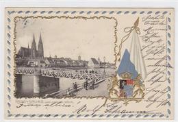 39032005 - Wappenkarte / Passepartoutkarte Von Regensburg. Wappen Teilansicht Bruecke Vom Unteren Woerth Aus Gesehen Ge - Regensburg