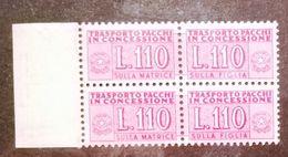 REPUBBLICA  - ANNO 1953 - PACCHI IN CONCESSIONE - 110 LIRE LILLA ROSA COPPIA - GOMMA INTEGRA ** MNH - Pacchi In Concessione