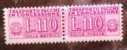 REPUBBLICA  - ANNO 1953 - PACCHI IN CONCESSIONE - 110 LIRE LILLA ROSA - GOMMA INTEGRA ** MNH - Pacchi In Concessione