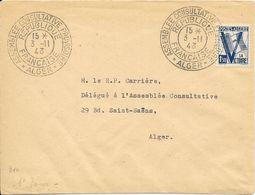 LOT 1804006 - ALGERIE LETTRE DE ALGER DU 3 NOVEMBRE 1943 POUR  ALGER - CACHET ASSEMBLEE CONSULTATIVE PROVISOIRE - Algérie (1924-1962)