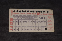 Ticket Tram STIB MIVB X21 50 Francs 13 Voyages - Tram
