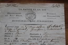 Passeport Municipalité De Strasbourg 1793 La Nation Et La LOI  Cachet   Rare Date - Documentos Históricos