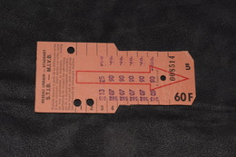 Ticket Tram STIB MIVB U8 60 Francs 9 Voyages - Tram