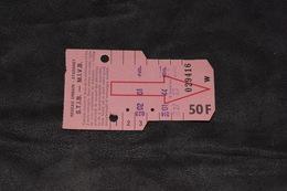 Ticket Tram STIB MIVB W 50 Francs 6 Voyages - Tram