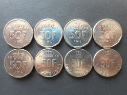 Luxembourg 50 Francs 1987-1990 (Lot Of 8 Coins) - Lussemburgo