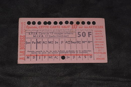 Ticket Tram STIB MIVB P24 50 Francs 13 Voyages - Tram