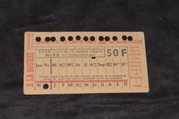 Ticket Tram STIB MIVB C27 50 Francs 13 Voyages - Tram