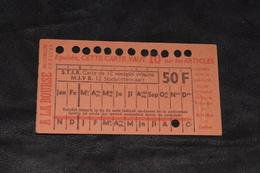 Ticket Tram STIB MIVB A3 50 Francs 12 Voyages - Tram
