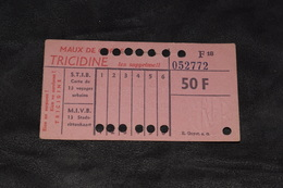 Ticket Tram STIB MIVB F18 50 Francs 13 Voyages - Tram