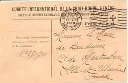 Comité International De La Croix Rouge Genève Agence Des Prisonniers De Guerre 1918 , Recherche De Militaire Landujan - Documents