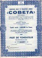 """""""COBETA"""" - Compagnie Belge De Transports Aériens - Transports"""