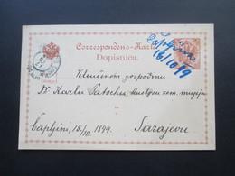 Österreich / Bosnien 1899 GA Mit Handschriftlicher Entwertung Capljina Nach Sarajevo Karl Patsch Kustos Landesmuseum - Bosnien-Herzegowina