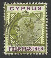 Cyprus, 4 Pi, 1904, Sc # 54, Mi # 52, Used - Cyprus (...-1960)