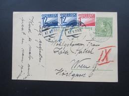 Jugoslawien 1927 Ganzsache Mit Nachporto / Österreichische Nachportomarken! Rot Und Blaustift! Tolle Karte - 1919-1929 Kingdom Of Serbs, Croats And Slovenes