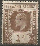 Leeward Islands - 1909 King Edward VII 1/4d Unused No Gum   SG 36  Sc 41 - Leeward  Islands
