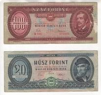 Petit Lot De 2 Billets D'Hongrie. 20 Forint (30/6/1969) Pick #169e Et 100 Forint (24 Aôut 1960) Pick #171b - Hongrie