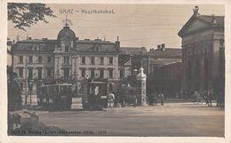 "07550 ""AUSTRIA - GRAZ - HAUPTBAHNFOF"" ANIMATA, TRAMWAY NR. 1 - 2, CARROZZE. 1919 CART  NON SPED - Graz"