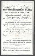 Image Mortuaire - Armentières - MAHIEU Marie Anne Angélique (épouse CARY Alexandre Jh) - Décès