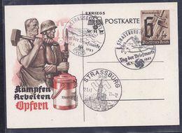 Entier Postal Journee Du Timbre 1941 Strasbourg Tag Der Briefmarke Soldats - Alsace-Lorraine
