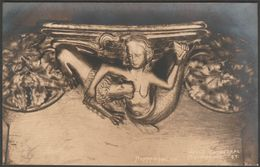 Mermaid & Lion, Misericorde, Wells Cathedral, Somerset, C.1920s - W A Call RP Postcard - Wells