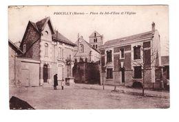 51 Prouilly Place Du Jet D' Eau Et Eglise Cpa Animée Cachet 1931 - Autres Communes