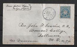 1902 TOKIO → Letter To Vancouver Baltimore USA   ►RRR◄ - Japan