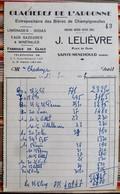 51 SAINTE MENEHOULD GLACIERES DE L'ARGONNE J. LELIEVRE BIERE CHAMPIGNEULLES - Factures