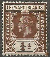 Leeward Islands - 1922 King George V 1/4d MH*   SG 58  Sc 61 - Leeward  Islands