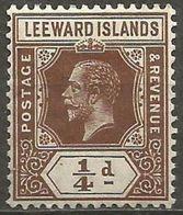 Leeward Islands - 1912 King George V 1/4d MLH *  SG 46  Sc 46 - Leeward  Islands