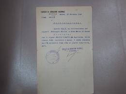 DOCUMENTO PARTIGIANI C.L.N. COMITATO DI LIBERAZIONE NAZIONALE DI MONZA MILANO - Unclassified