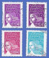 FRANCE 3446 (2 TEINTES) + 3454 + 3455 OBLITERES MARIANNE DE LUQUET - 1997-04 Marianne (14. Juli)