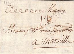"""France 1733 Entire Letter St Malo """"S. MALO"""" à M. Roux En Marseille (q83) - 1701-1800: Precursores XVIII"""