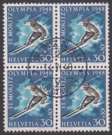Suisse 1948 : Bloc De 4 Du No W 28w, Oblitéré Plein Centre Winznau Le 18.VI.48 - Cote 55.- - Suisse