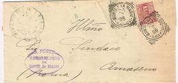 X1435 10 Centesimi Floreale - 1905 Viaggiata Da Monte San Biagio (Latina) A Amaseno (Frosinone) - Storia Postale