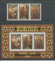 BURUNDI  Scott 735, 735d Yvert 1071-1073, BF136 (3+bloc) ** Cote 15,0 $ 1995 - Burundi