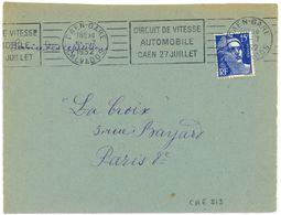 CAEN CALVADOS 1952 Oblit. RBV : CIRCUIT DE VITESSE AUTOMOBILE - Marcophilie (Lettres)