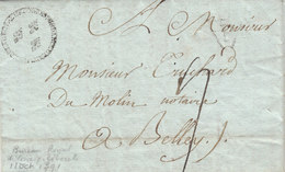 France 1791 Entire Letter BUREAU ROYAL DE CORRESPONDANCE GENERALE Fleur De Lys à Belley Ain, P Triangulaire (q92) - 1701-1800: Precursores XVIII