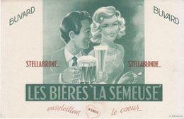 Buvard Les Bières La Semeuse - Bière Stella Brune - Stella Blonde, Couple, Brasserie - Blotters