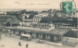 POISSY (78, Yvelines) : La Gare, Panorama (circulée, 1914), 2 Scans, Attelage, Camion, Destination Mantes-la-Ville - Poissy