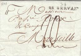 """France 1803 An 11 Entire Letter """"34 ST. SERVAN"""" Pour Marseille (q102) - 1801-1848: Precursores XIX"""