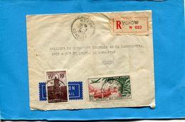 MARCOPHILIE-comores-lettre- >France -cad-moroni-1953-2-stamps-N°10+A1 Défectueux - Comores (1950-1975)