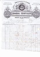 Paris 1853  Eugene Profilet,47 Rue Des Tournelles,fabricant Agricole. Facture Cimplete,adresse Postale Verso. - France